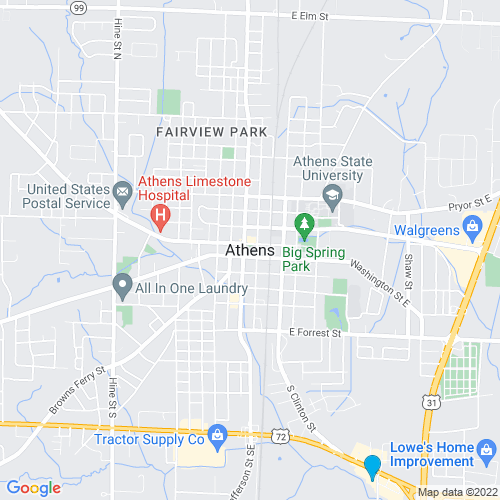 Map of Athens, AL