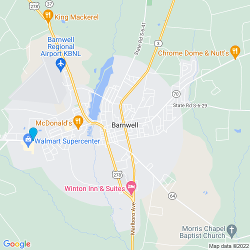 Map of Barnwell, SC