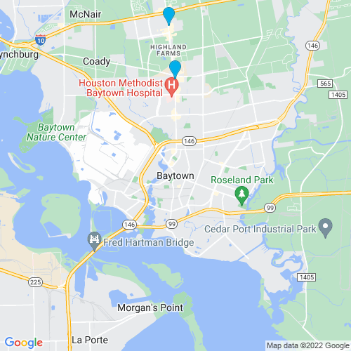Map of Baytown, TX