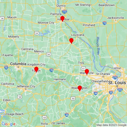 Map of Bellflower, MO
