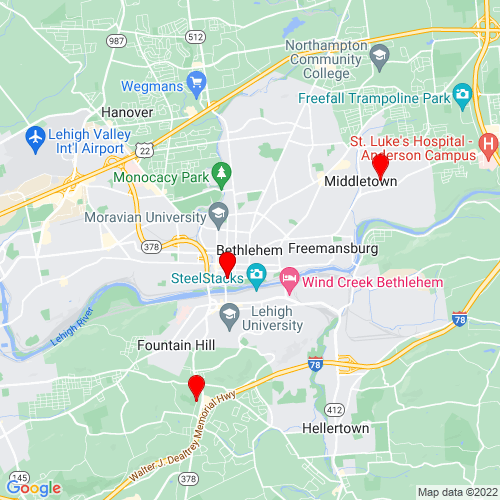Map of Bethlehem, PA