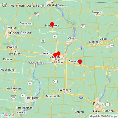 Map of Bettendorf, IA