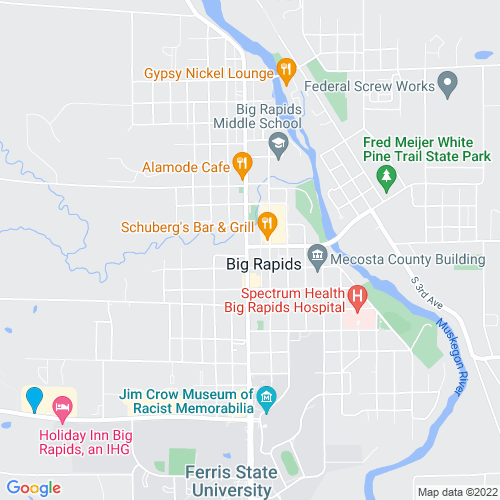 Map of Big Rapids, MI