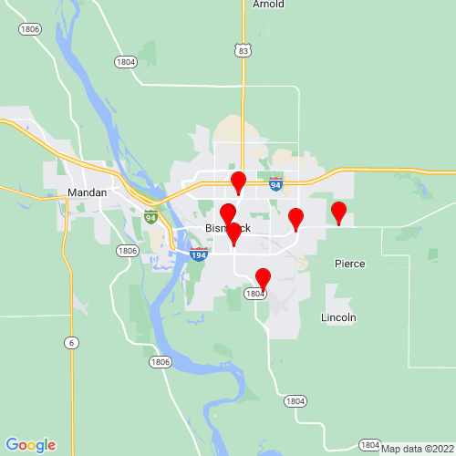 Map of Bismarck, ND