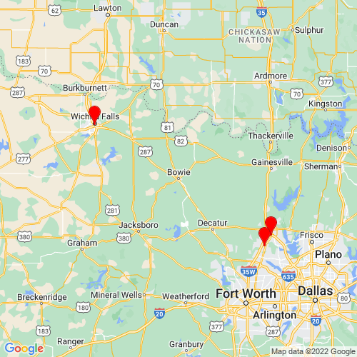Map of Bowie, TX