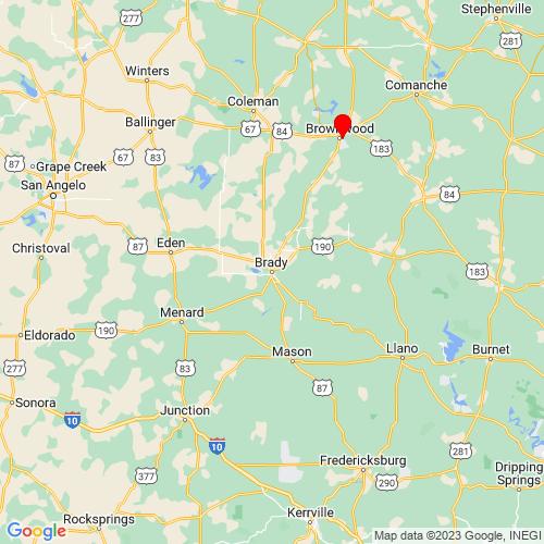 Map of Brady, TX