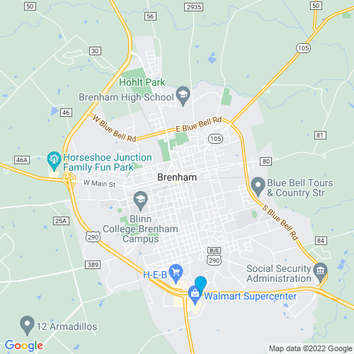 Map of Brenham, TX