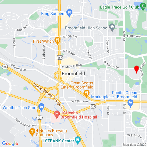 Map of Broomfield, CO