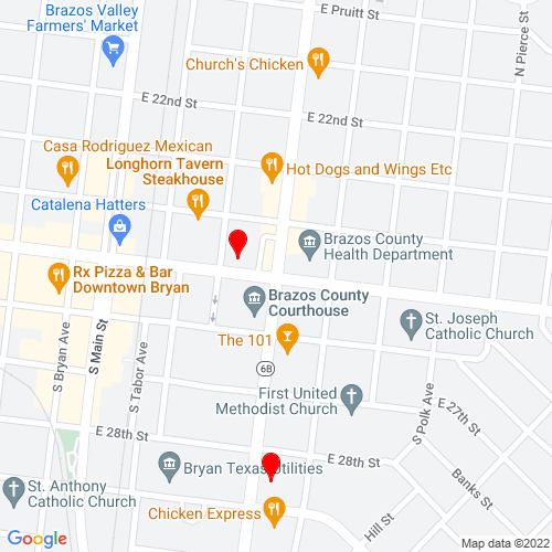 Map of Bryan, TX