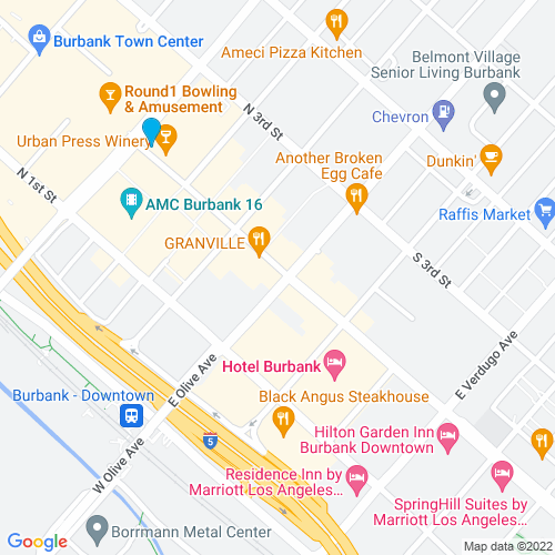 Map of Burbank, CA