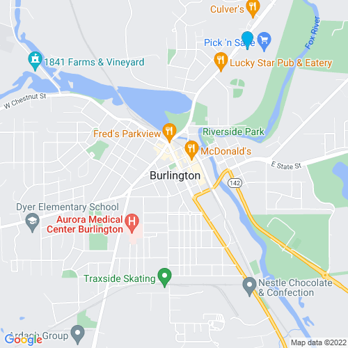 Map of Burlington, WI