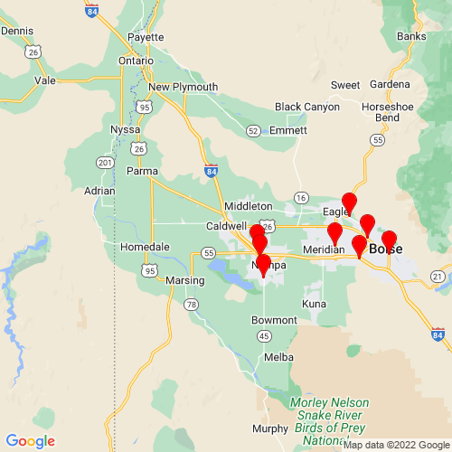 Map of Caldwell, ID