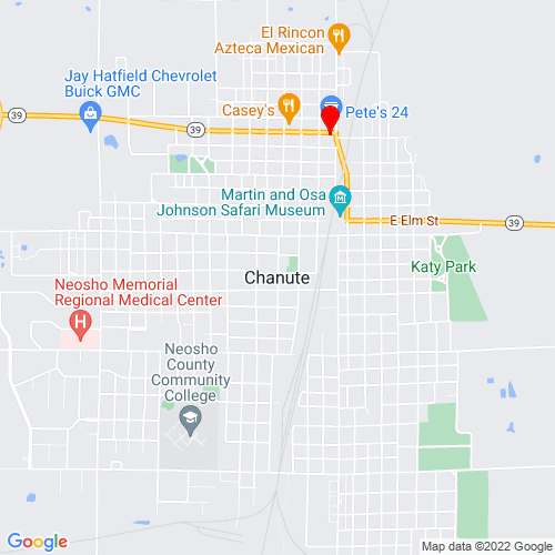 Map of Chanute, KS