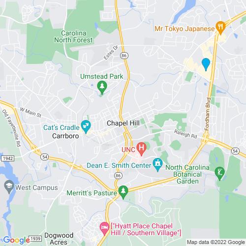 Map of Chapel Hill, NC