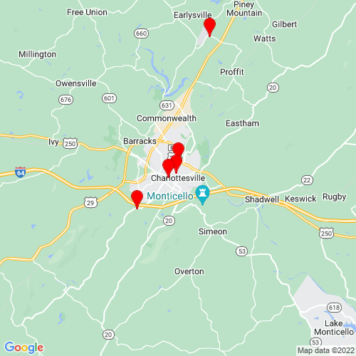 Map of Charlottesville, VA