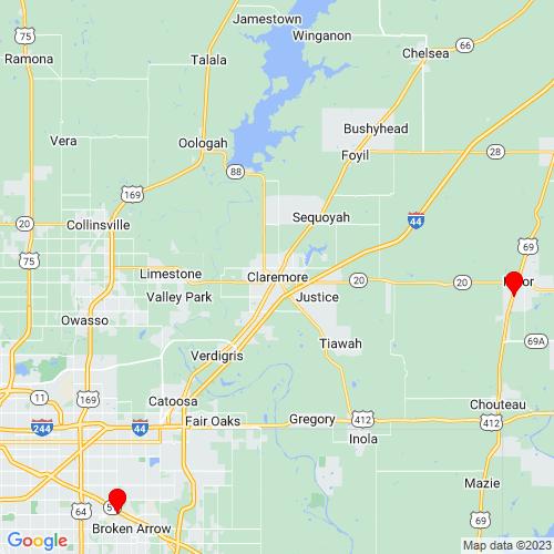 Map of Claremore, OK