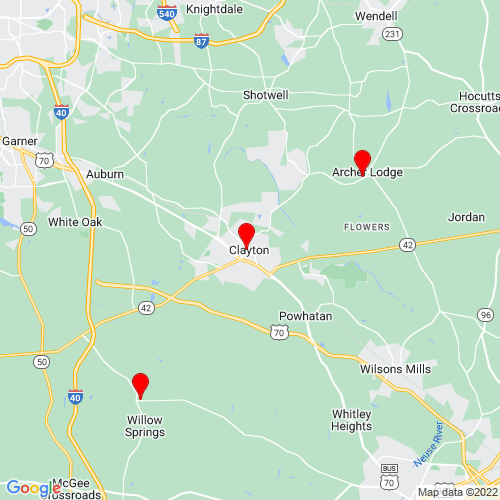 Map of Clayton, NC