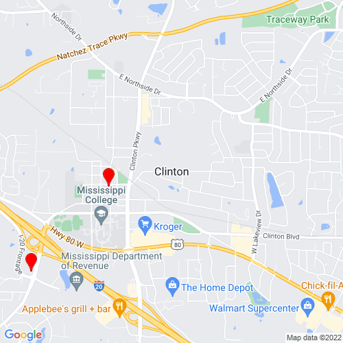Map of Clinton, MS