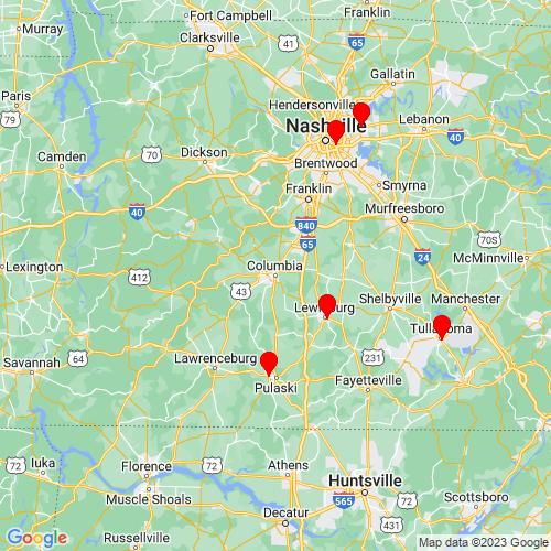 Map of Columbia, TN