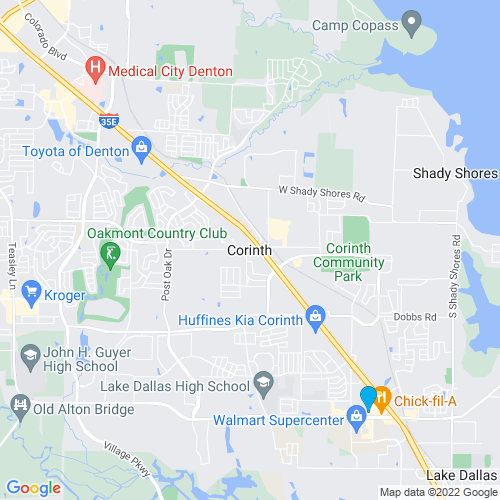 Map of Corinth, TX
