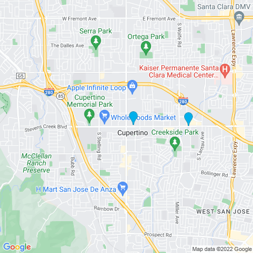 Map of Cupertino, CA