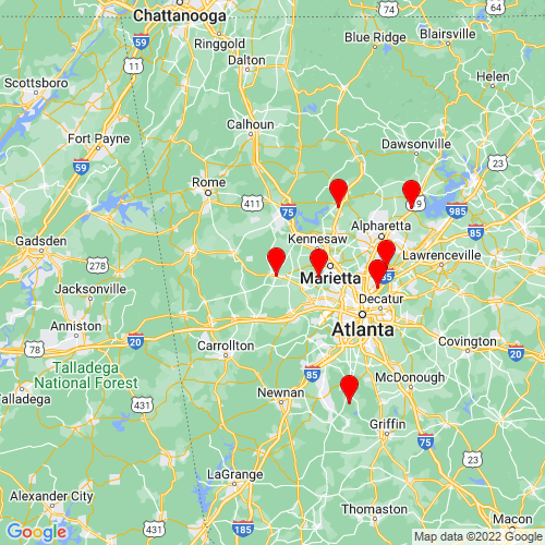 Map of Dallas, GA