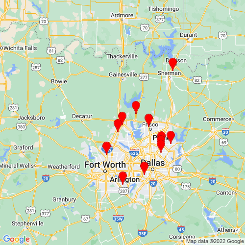 Map of Denton, TX