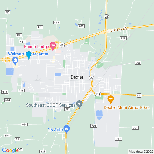 Map of Dexter, MO