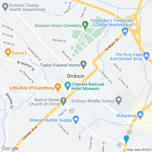 Map of Dickson, TN