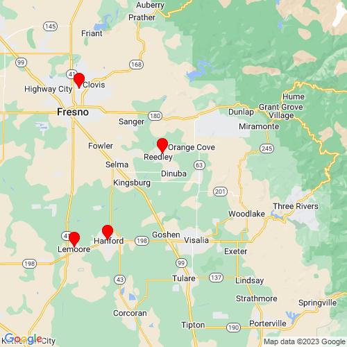 Map of Dinuba, CA