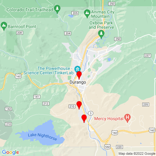 Map of Durango, CO