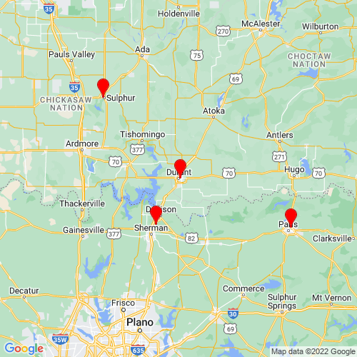 Map of Durant, OK