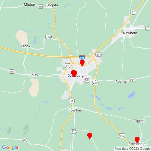 Map of Dyersburg, TN