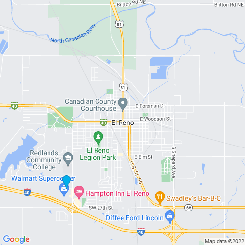 Map of El Reno, OK