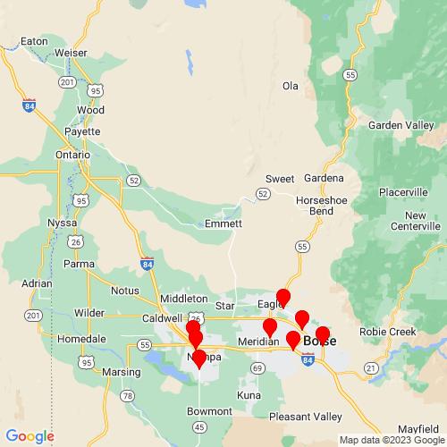 Map of Emmett, ID