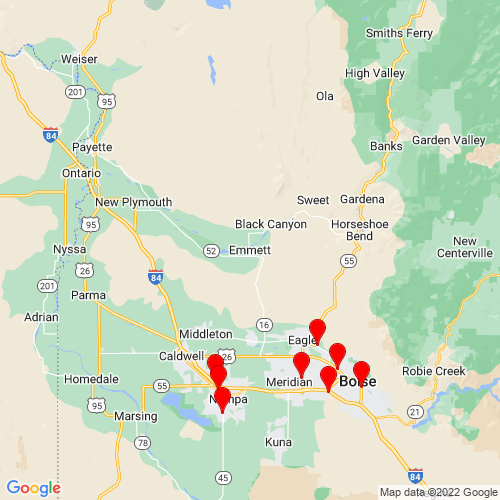 Map of Emmett, ID