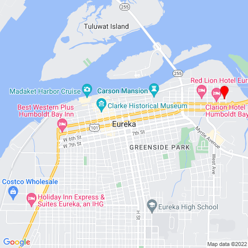 Map of Eureka, CA