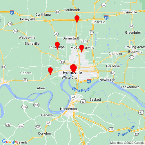 Map of Evansville, IN