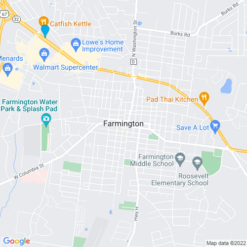 Map of Farmington, MO