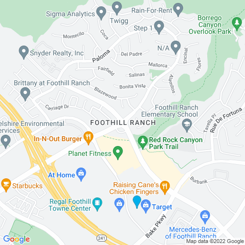 Map of Foothill Ranch, CA