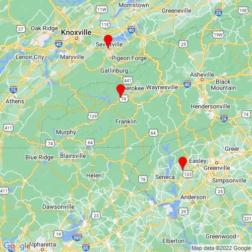 Map of Franklin, NC