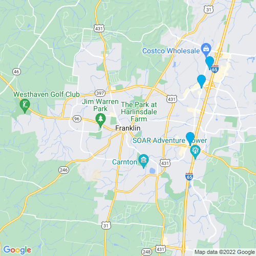 Map of Franklin, TN