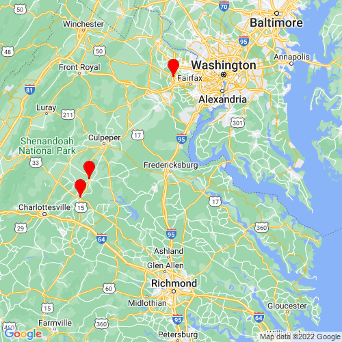 Map of Fredericksburg, VA