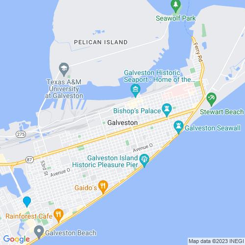 Map of Galveston, TX
