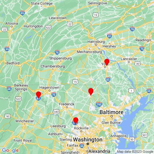 Map of Gettysburg, PA