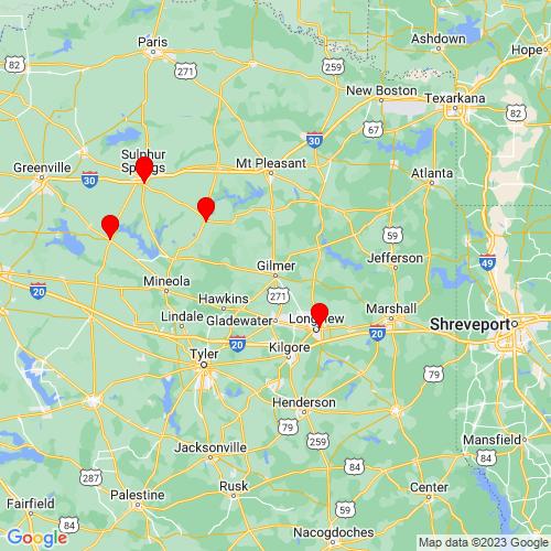 Map of Gilmer, TX