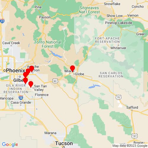 Map of Globe, AZ