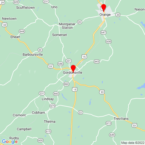 Map of Gordonsville, VA