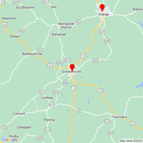 Map of Gordonsville, VA