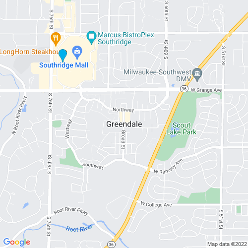 Map of Greendale, WI